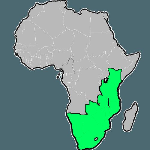Сегодняшний ареал обитания черного носорога на карте
