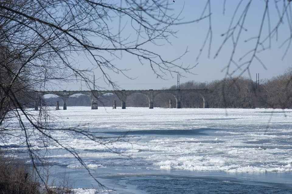 река, лед, мост, зим, снег