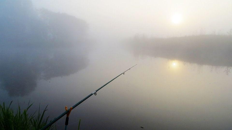 удочка, река, туман, дымка, рыбалка
