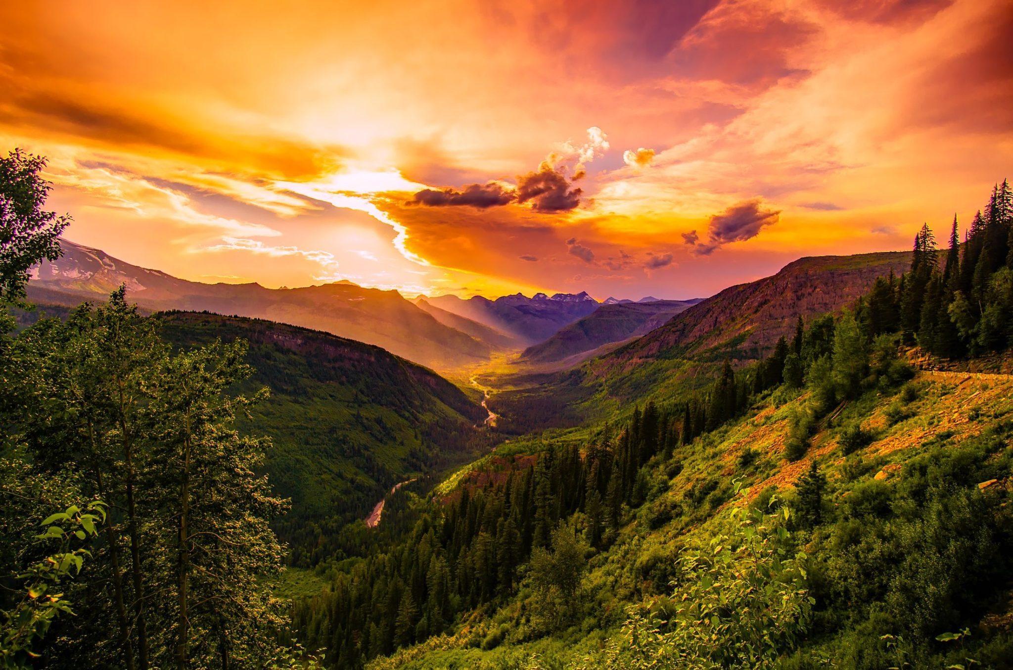 оранжевый закат, конец дня, река, долина, лес, природа, пейзаж, горы, ущелье