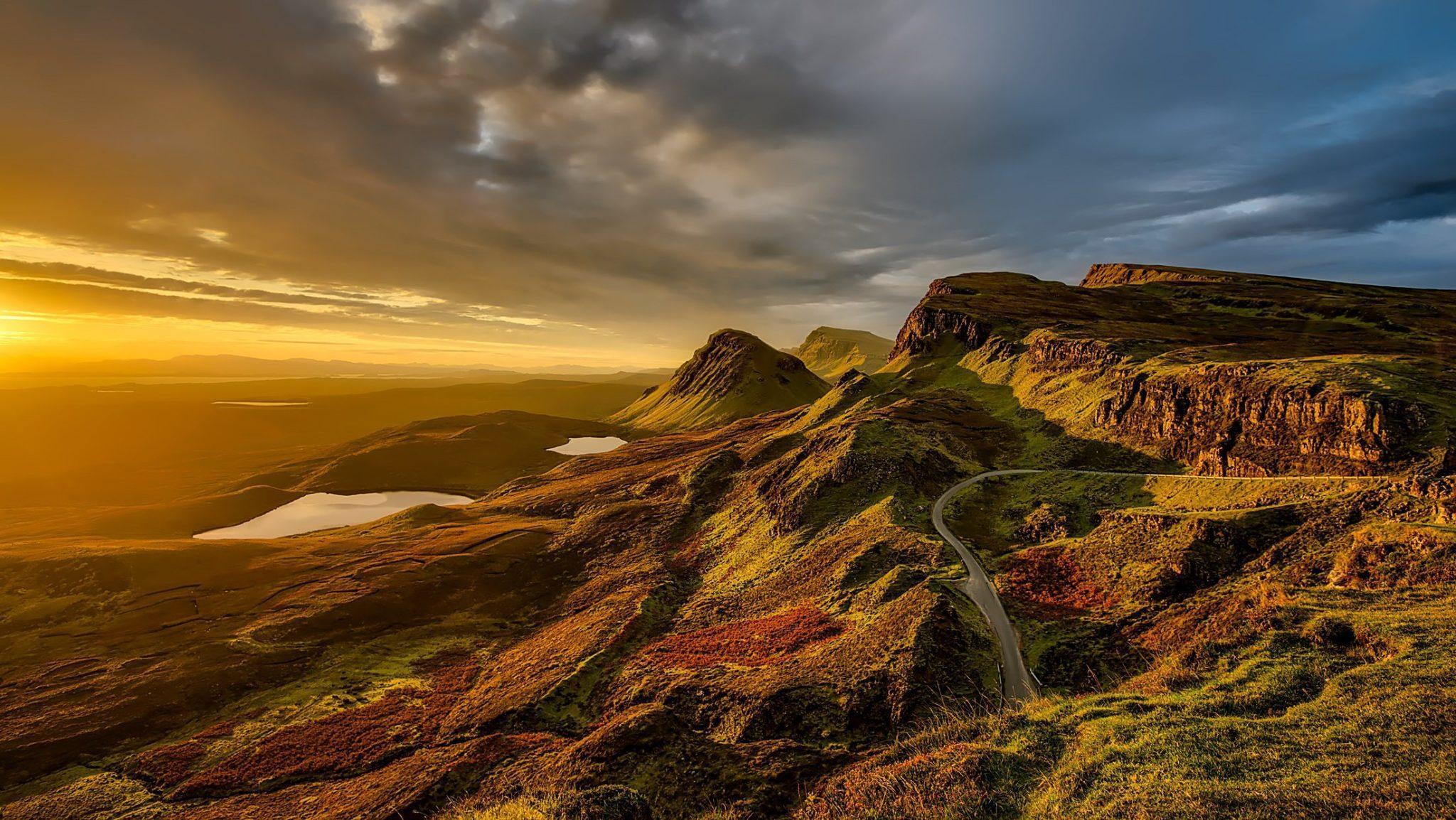 шотландия, пейзаж, природа, горы, холмы, закат, небо