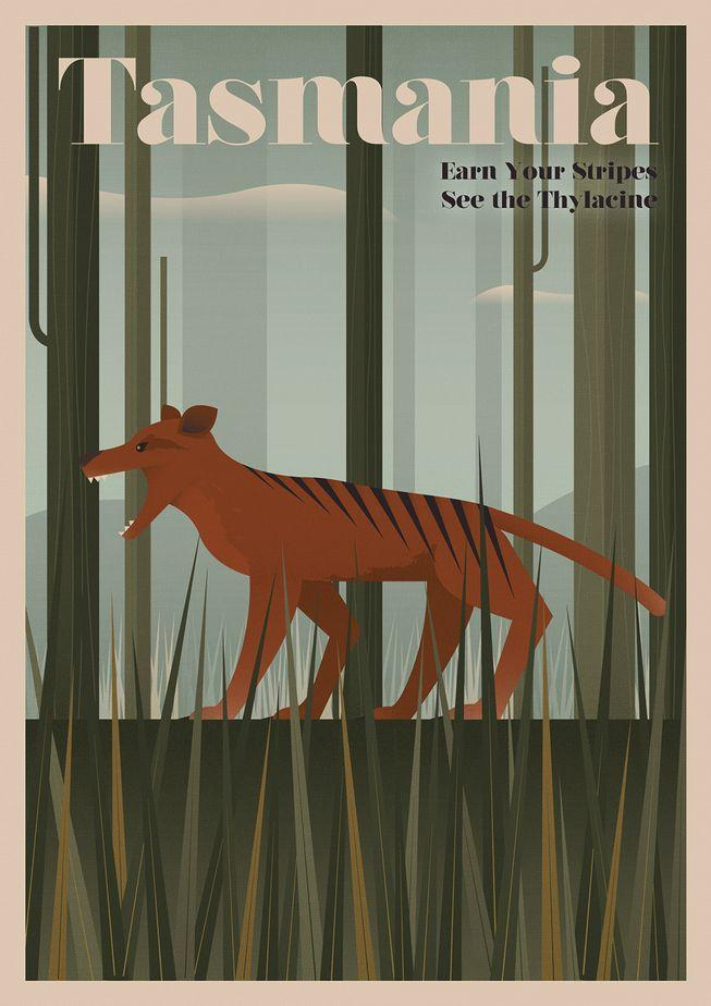 Туристические плакаты вымерших животных в ретро стиле от Expedia UK 2