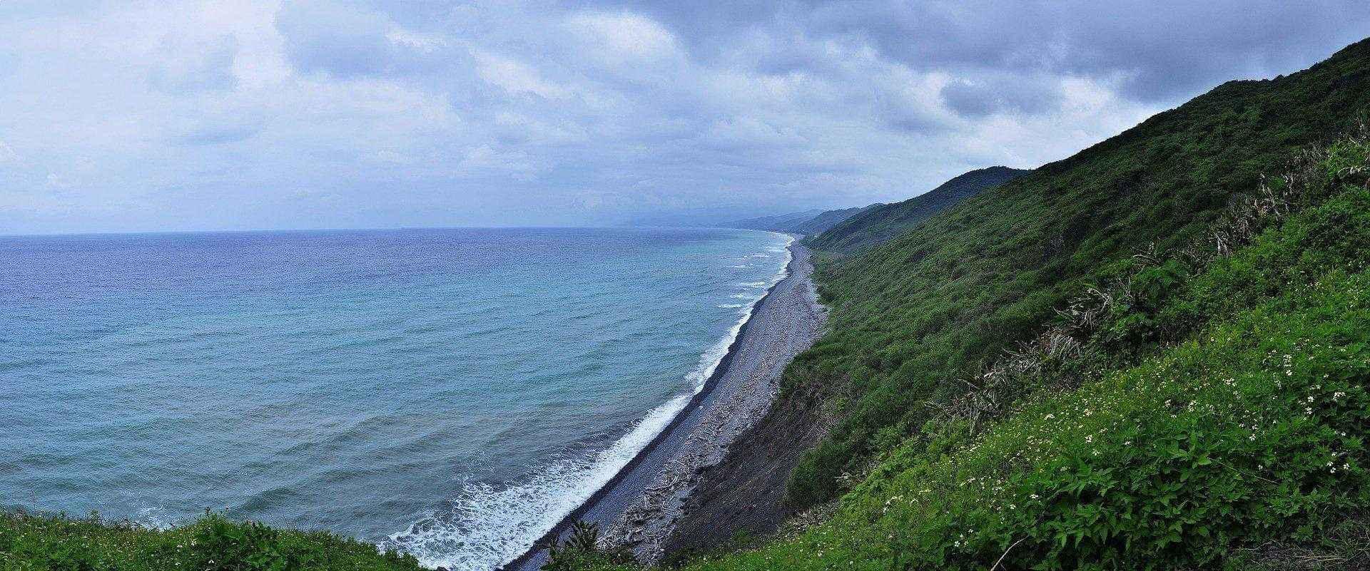 горы, море, океан, вода, природа, пейзаж, граница, небо, облака