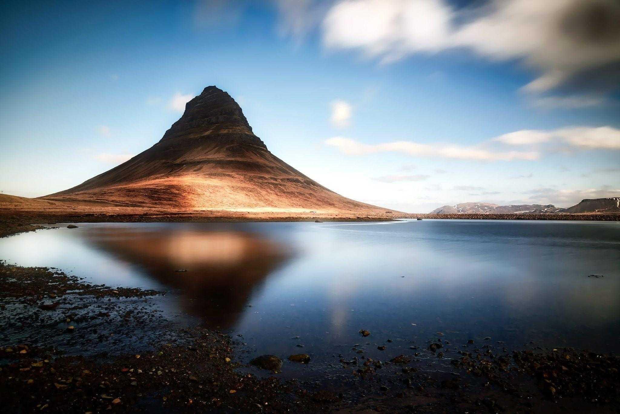 гора, Киркьюфетль, Исландия, озеро, небо, природа, пейзаж