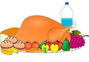 еда, вода, индейка, фрукты, овощи, мясо, хлеб, рисунок, иллюстрация