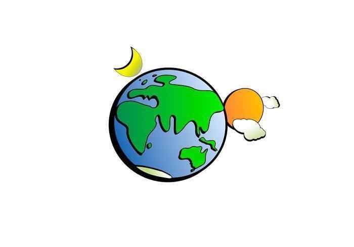 планета, мир, земля, рисунок, солнце, луна, облака