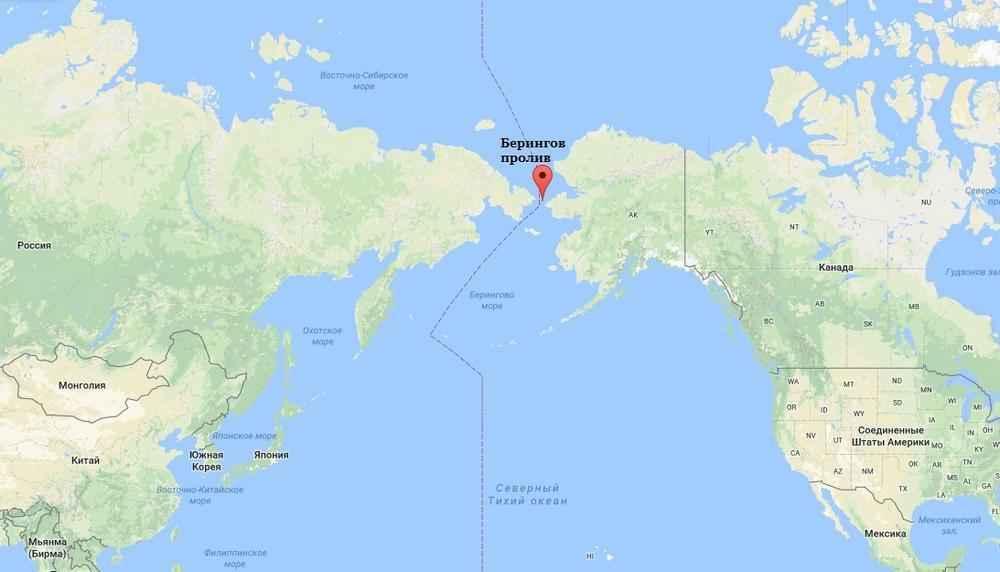 Где расположен Берингов пролив на карте мира? 2