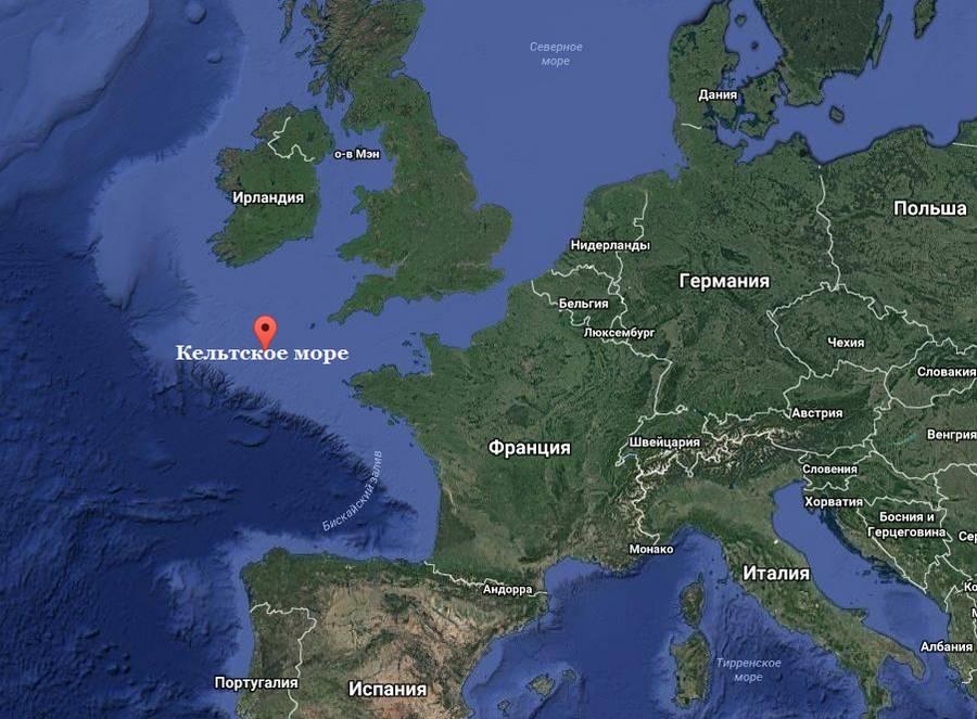 Где на карте мира расположено Кельтское море? 2