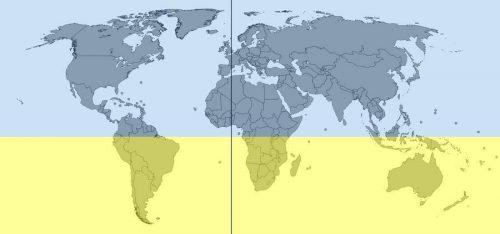 В каких полушариях расположен континент Северная Америка? 2