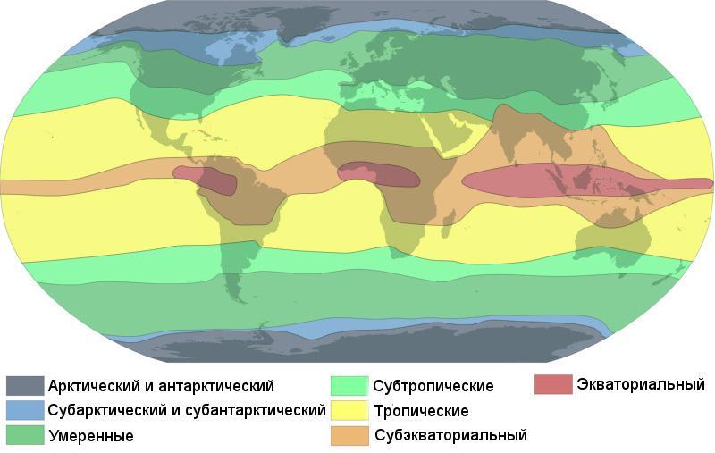климатическая карта Земли, типы климата, климатические пояса, климатические зоны