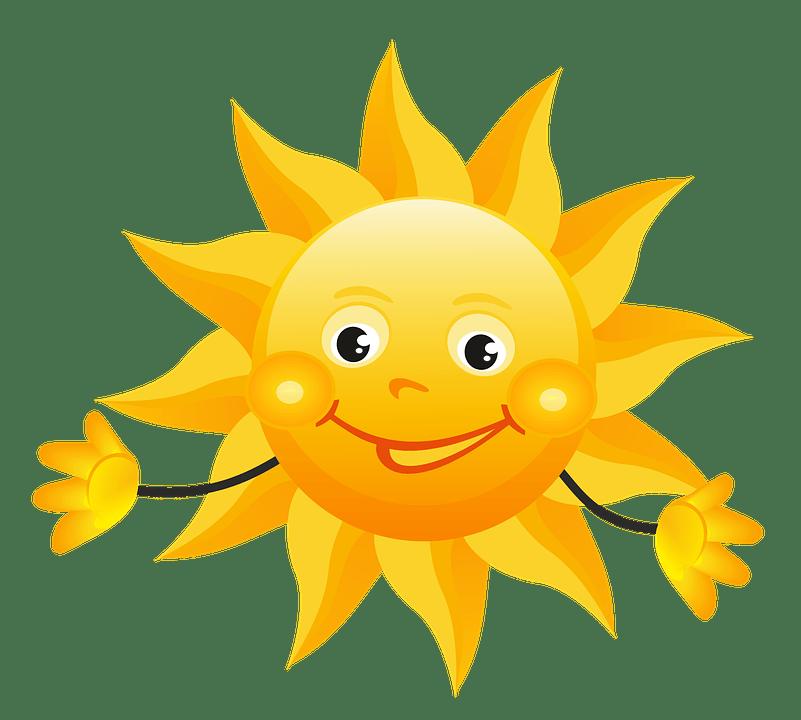 Цветные картинки веселого солнца с лучиками для детей 14
