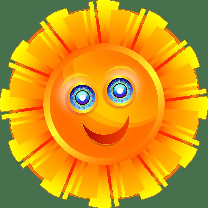 Цветные картинки веселого солнца с лучиками для детей 23