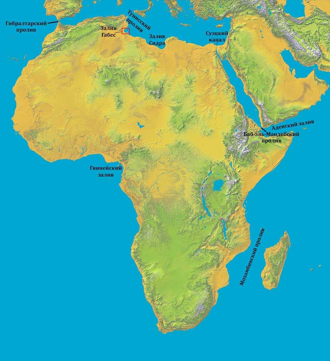Проливы и заливы Африки - список, описание и карта 2