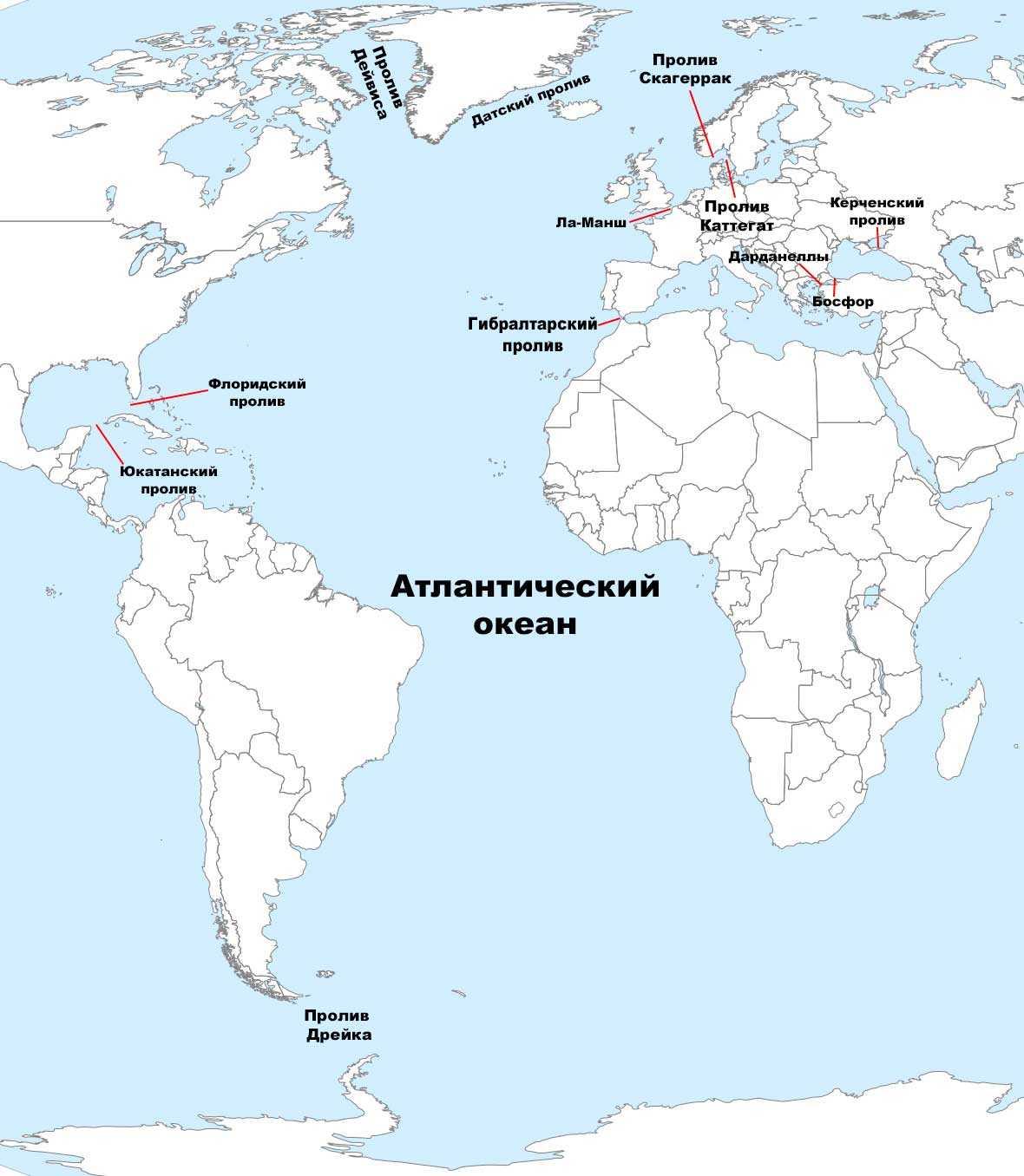 Самые большие проливы Атлантического океана - список, характеристика и карта 2