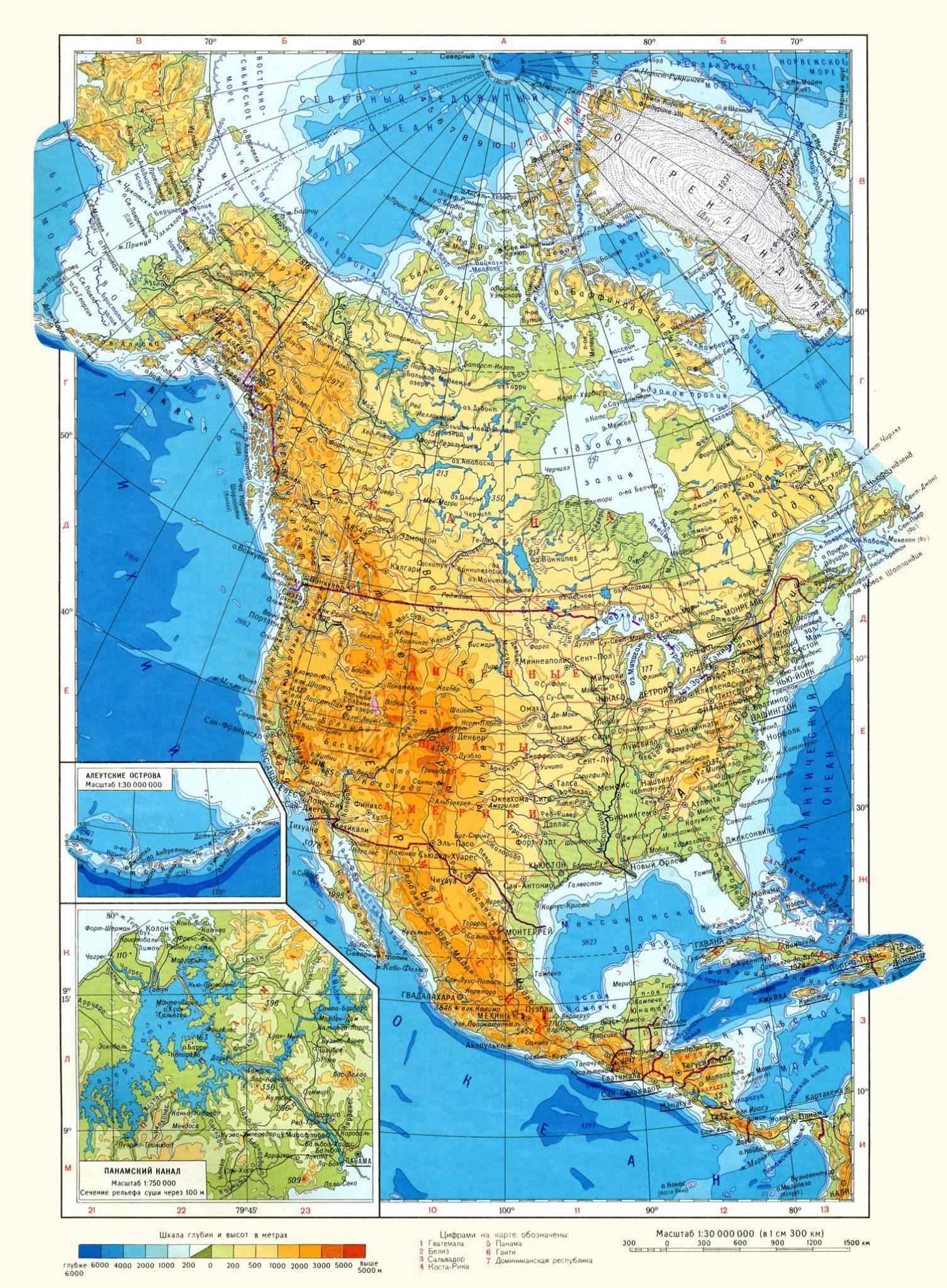 Географические карты Северной Америки крупным планом на русском языке: физическая, политическая и контурная 2