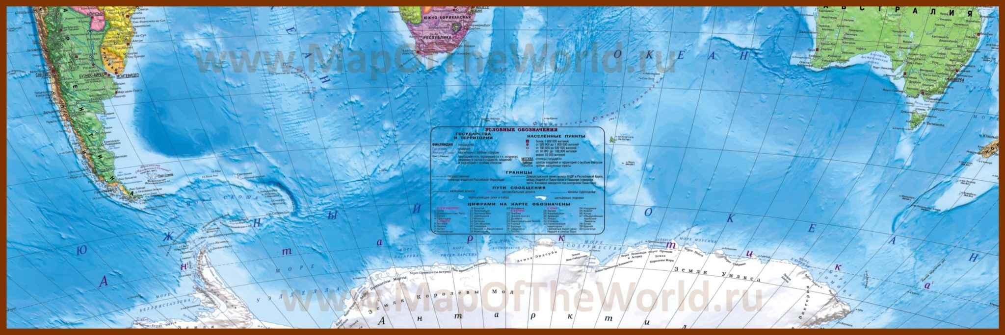 Физическая карта Южного океана и его расположение на карте Земли 4
