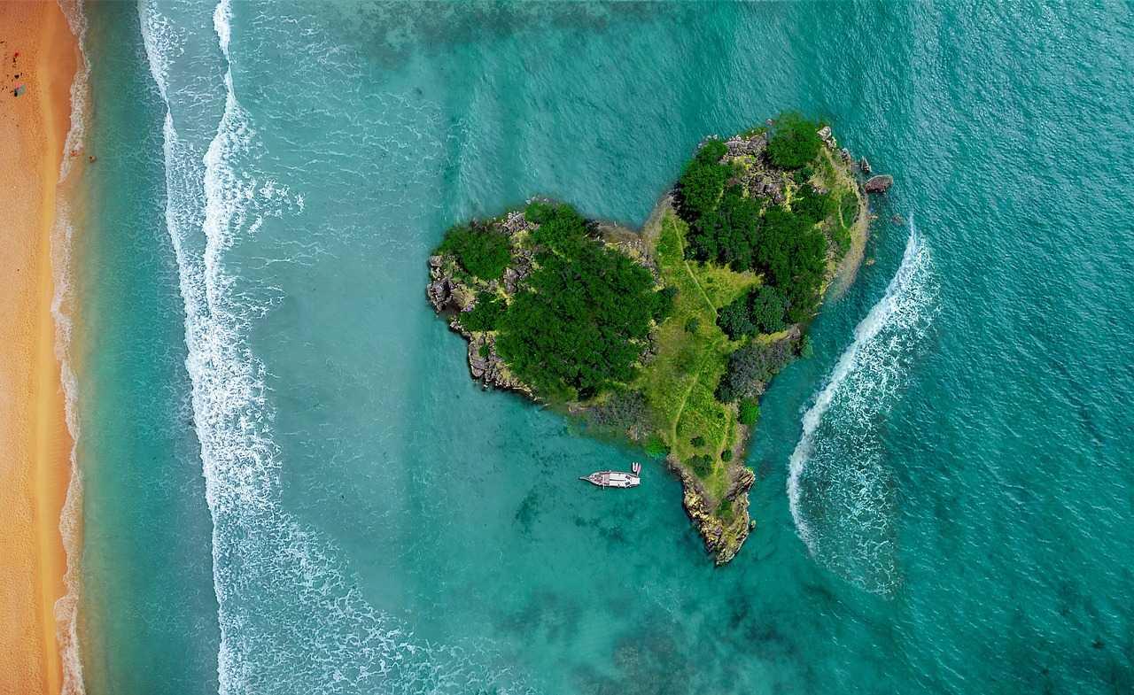 море, пляж, остров, с высоты, лодка